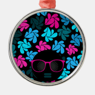 Afro Diva Turquoise & Hot Pink Metal Ornament