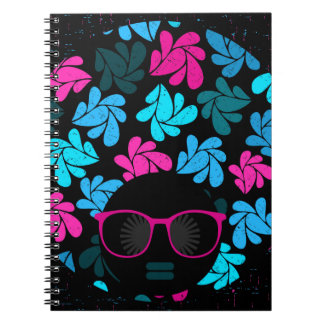 Afro Diva Turquoise & Hot Pink Notebook