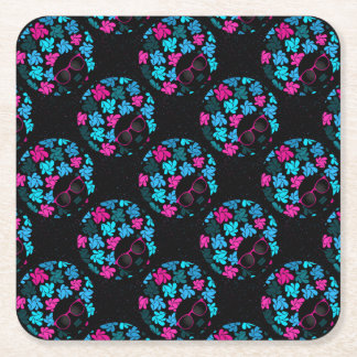 Afro Diva Turquoise & Hot Pink Party Supplies Square Paper Coaster