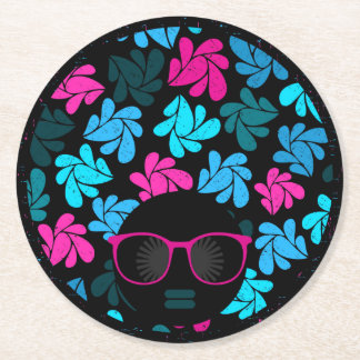 Afro Diva Turquoise & Hot Pink Round Paper Coaster