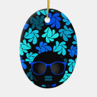 Afro Diva Turquoise Teal Ceramic Ornament