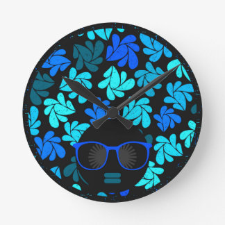 Afro Diva Turquoise Teal Round Clock