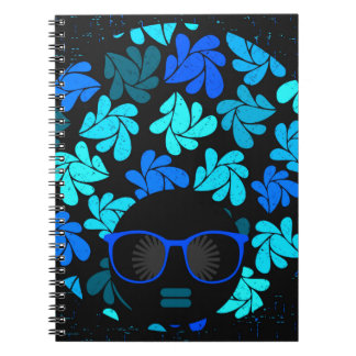 Afro Diva Turquoise Teal Spiral Notebook