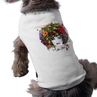 Afro girl sleeveless dog shirt
