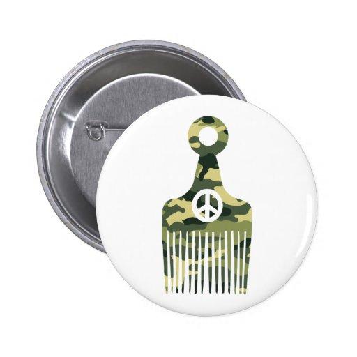 Afro Hair Peace Camo Pinback Button