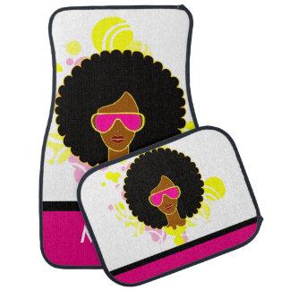 Afro Hair Pink Sunglasses on Car Mats Car Mat