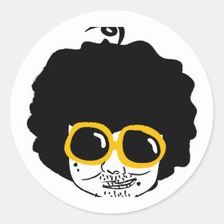 afro man classic round sticker