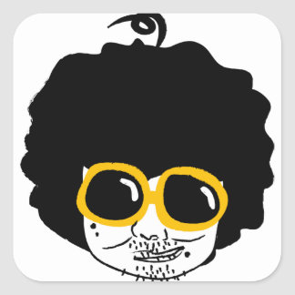 afro man square sticker