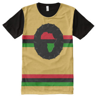 AFRO-MEDALLION and STRIPES All-Over Print T-Shirt