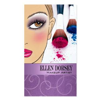 Afrocentric Makeup Artist Illustration (lilac) Pack Of Standard Business Cards