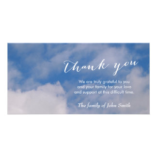 After Funeral Sky & Clouds Memorial Thank You Personalized Photo Card