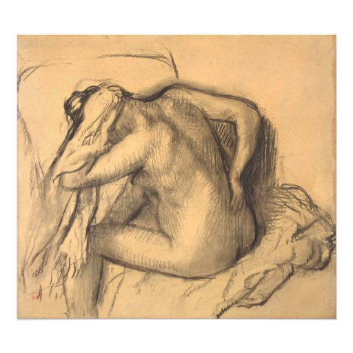After the Bath Woman Drying Hair by Edgar Degas Photographic Print