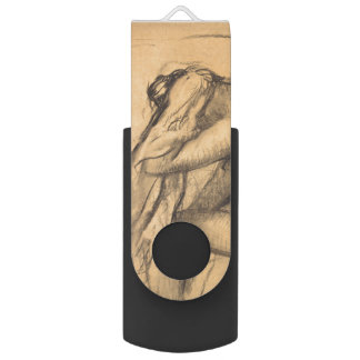 After the Bath Woman Drying Hair by Edgar Degas Swivel USB 2.0 Flash Drive
