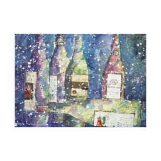 After the wine party watercolor canvas print