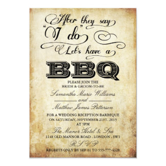 After They Say I Do, Lets Have A BBQ! - Vintage 13 Cm X 18 Cm Invitation Card