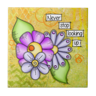 Afternoon Delight Positive Thought Doodle Flower Ceramic Tile