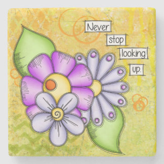 Afternoon Delight Positive Thought Doodle Flower Stone Coaster