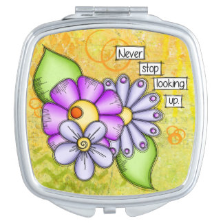 Afternoon Delight Positive Thought Doodle Flower Travel Mirrors