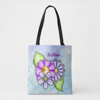 Afternoon Delight Watercolor Doodle Flower Bag