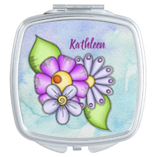 Afternoon Delight Watercolor Doodle Flower Compact Compact Mirror