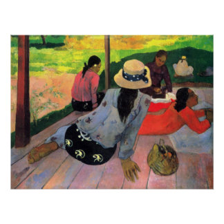 Afternoon Quiet Hour by Eugène Henri Paul Gauguin Poster