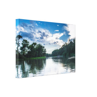 Afternoon River View Wrapped Canvas Print