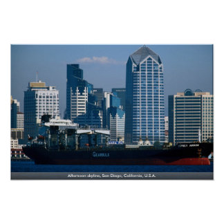 Afternoon skyline, San Diego, California, U.S.A. Poster