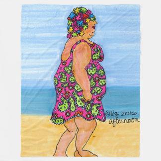 Afternoon Swim Styling Beach Lady Fleece Blanket