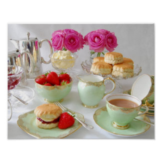 Afternoon Tea and Pink Roses Poster