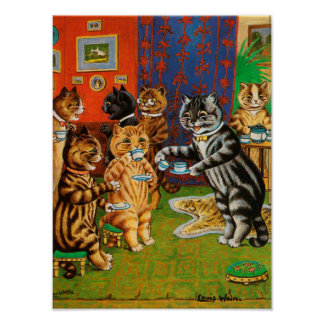 Afternoon Tea Cats, Louis Wain Poster