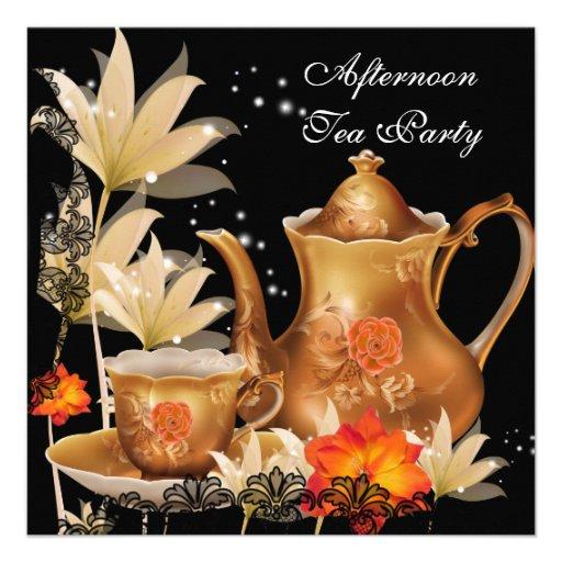 Afternoon Tea Party Vintage black gold Teapot Invitations