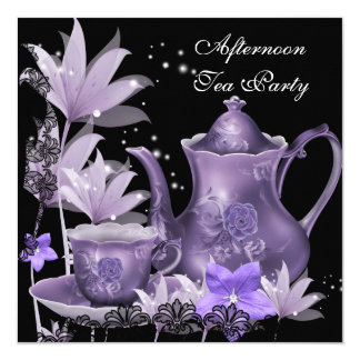 Afternoon Tea Party Vintage black Purple Teapot 5.25x5.25 Square Paper Invitation Card