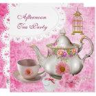 Afternoon Tea Party Vintage Pink Floral Teapot Card