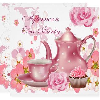 Afternoon Tea Party Vintage Pink Rose Teapot Card