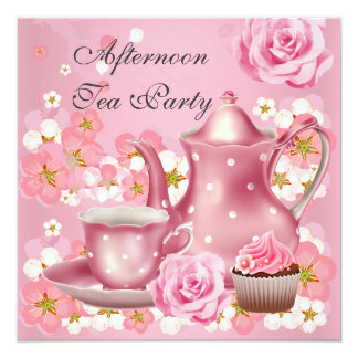 Afternoon Tea Party Vintage Pink Rose Teapot 5.25x5.25 Square Paper Invitation Card