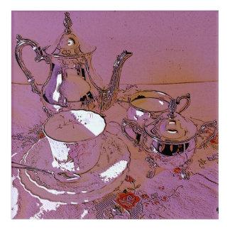 Afternoon tea silver teaset acrylic print
