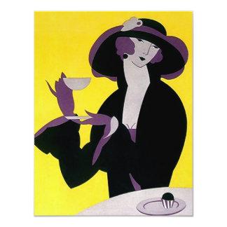 Afternoon Tea Vintage Invitation Art Deco Lady