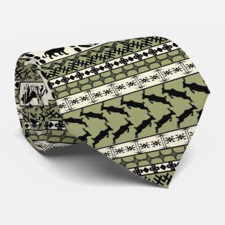 Aftrican Motif, Lion, Stripes, Green, Mans' Tie