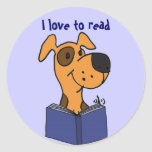 AG- I love to read dog cartoon stickers
