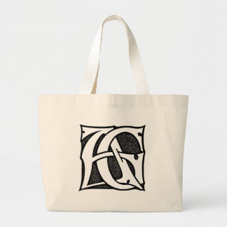 AG Monogram - Initials AG in Gothic Style Letters Tote Bag
