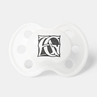 AG Monogram - Initials AG in Gothic Style Letters Pacifier