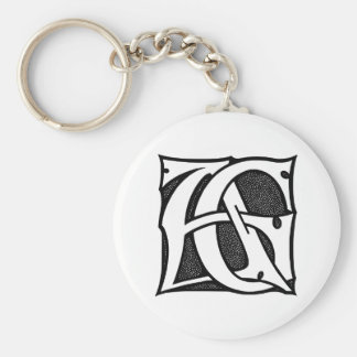 AG Monogram - Initials AG in Gothic Style Letters Keychain