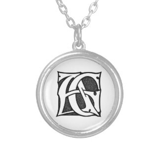 AG Monogram - Initials AG in Gothic Style Letters Round Pendant Necklace