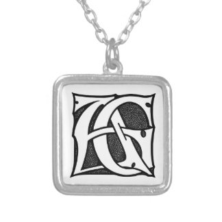 AG Monogram - Initials AG in Gothic Style Letters Square Pendant Necklace