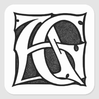 AG Monogram - Initials AG in Gothic Style Letters Square Sticker