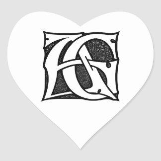 AG Monogram - Initials AG in Gothic Style Letters Heart Sticker