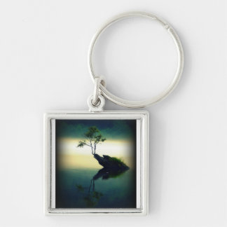 Against All Odds - Beautiful Tree Photograph Silver-Colored Square Key Ring