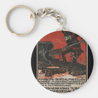 Against the horrors Propaganda Poster Basic Round Button Key Ring