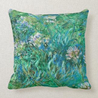Agapanthus Flowers Monet Fine Art Throw Pillow