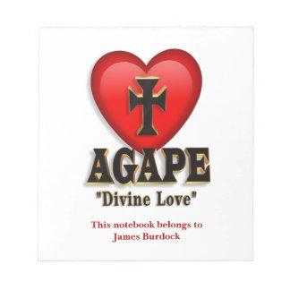 Agape heart symbol for God's divine love Note Pads